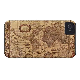 Caso antiguo del iPhone 4 del mapa del mundo iPhone 4 Case-Mate Cárcasas