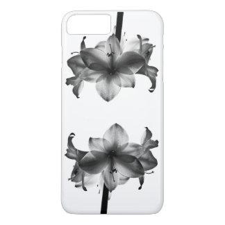 Caso con la flor blanco y negro funda iPhone 7 plus
