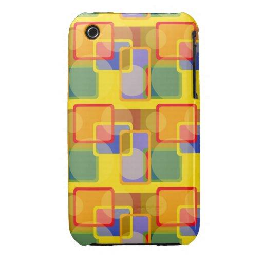 Caso cuadrado retro de Iphone del círculo Case-Mate iPhone 3 Cárcasa