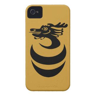 Caso de encargo del fondo IPhone4 del dragón negro Case-Mate iPhone 4 Coberturas