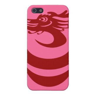 Caso de encargo del fondo IPhone4 del dragón rojo iPhone 5 Fundas