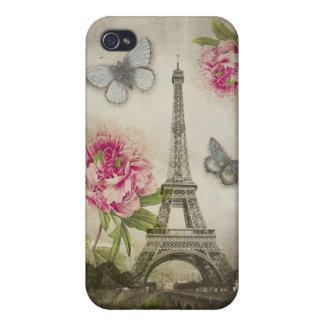 Caso de los Peonies iPhone4 de la torre Eiffel de  iPhone 4 Carcasas