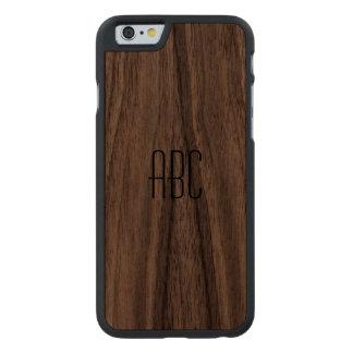 Caso de madera con monograma funda de nogal para iPhone 6 de carved