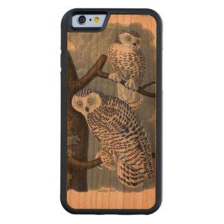 Caso de madera del iPhone 6 del búho Nevado del Funda De iPhone 6 Bumper Cerezo