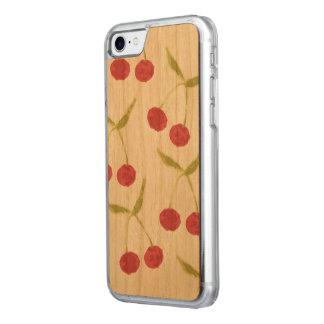 Caso de madera del modelo de la cereza funda para iPhone 7 de carved