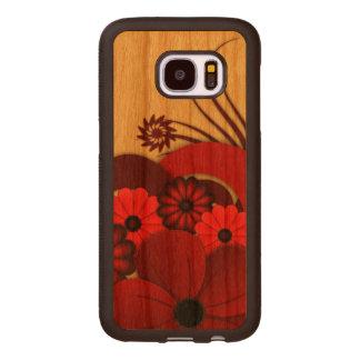 Caso de madera floral de Carved® Samsung S7 del Fundas De Madera Para Samsung S7