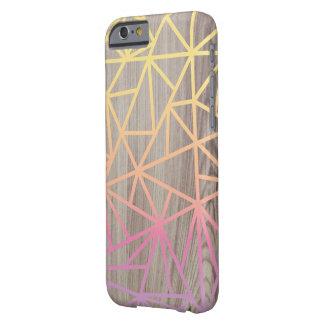 Caso de madera geométrico del rosa y del amarillo funda barely there iPhone 6