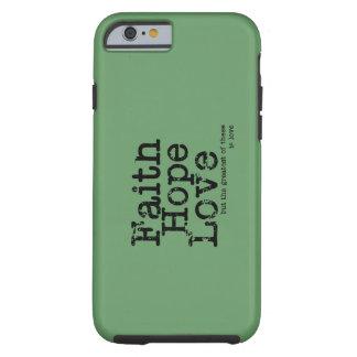 Caso del amor de la esperanza de la fe del vintage funda para iPhone 6 tough