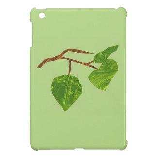 Caso del iPad del verde del árbol de la hoja mini