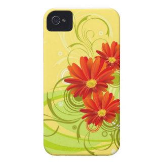 caso del iPhone 4/4S en diseño floral amarillo iPhone 4 Cárcasa