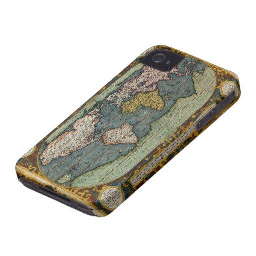 Caso del iPhone 4 del mapa de Viejo Mundo del vint iPhone 4 Case-Mate Cárcasa