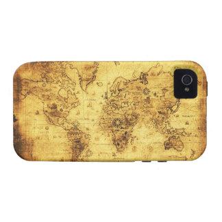 Caso del iPhone 4 del mapa del mundo del oro viejo Case-Mate iPhone 4 Carcasa