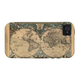 Caso del iPhone 4 del mapa del mundo del viejo est iPhone 4 Carcasa