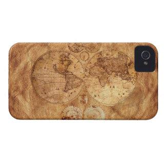 Caso del iPhone 4 del mapa del mundo del viejo est iPhone 4 Protectores