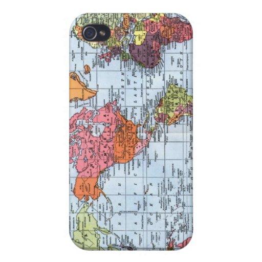 Caso del iPhone 4 del mapa del mundo iPhone 4 Fundas