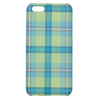 Caso del iPhone 4 del tartán del verde azul