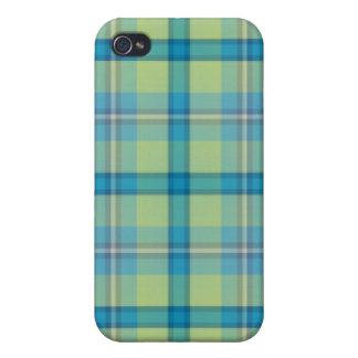 Caso del iPhone 4 del tartán del verde azul iPhone 4 Cobertura