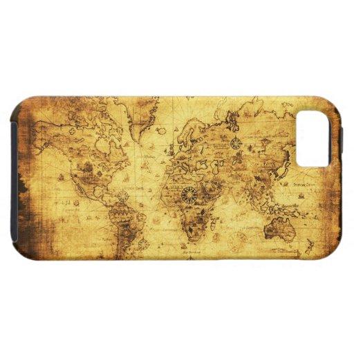 Caso del iPhone 5 del mapa del mundo del oro viejo iPhone 5 Protector