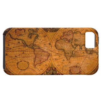 Caso del iPhone 5 del mapa del mundo del oro viejo iPhone 5 Fundas