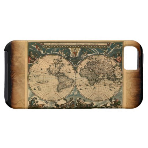 Caso del iPhone 5 del mapa del mundo del viejo est iPhone 5 Case-Mate Protector
