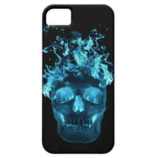 Caso del iPhone 5G del cráneo de la llama azul iPhone 5 Fundas