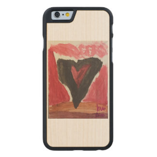 Caso del iPhone 6/6S del corazón Funda De iPhone 6 Carved® De Arce