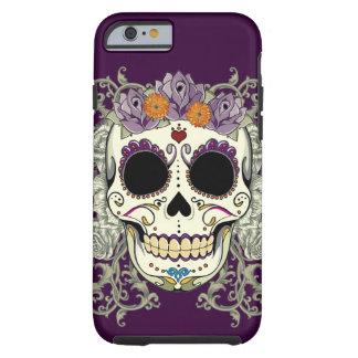 Caso del iPhone 6 del cráneo y de las flores del Funda Resistente iPhone 6