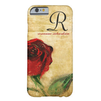 Caso del iPhone 6 del monograma del rosa rojo del Funda De iPhone 6 Barely There
