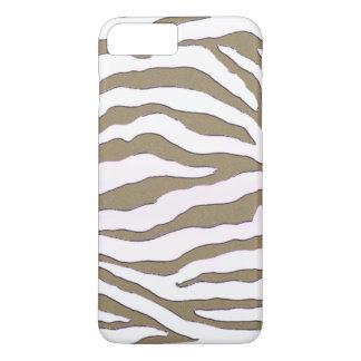 Caso del iPhone 7 de la raya de la cebra del oro y Funda iPhone 7 Plus