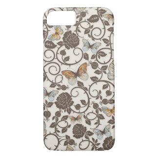 Caso del iPhone 7 de las mariposas y de los rosas Funda iPhone 7