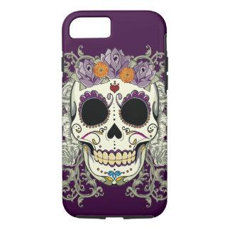 Caso del iPhone 7 del cráneo y de las flores del Funda iPhone 7