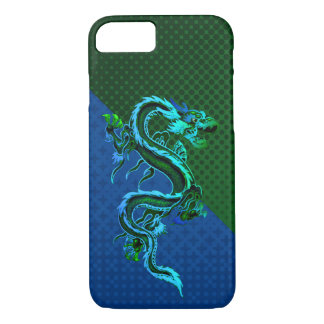 Caso del iPhone 7 del dragón azul y verde Funda iPhone 7
