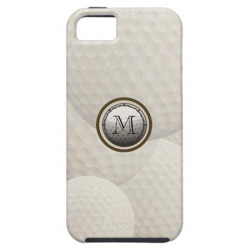 Caso del iPhone de la pelota de golf del monograma iPhone 5 Carcasas