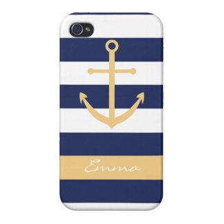 Caso del monograma del ancla de los azules marinos iPhone 4 carcasas