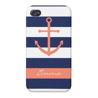 Caso del monograma del ancla de los azules marinos iPhone 4 coberturas
