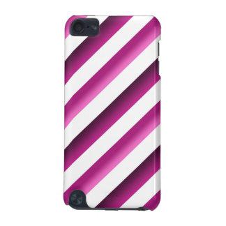 Caso del tacto 5g de Purple&Pink iPod de las rayas Funda Para iPod Touch 5