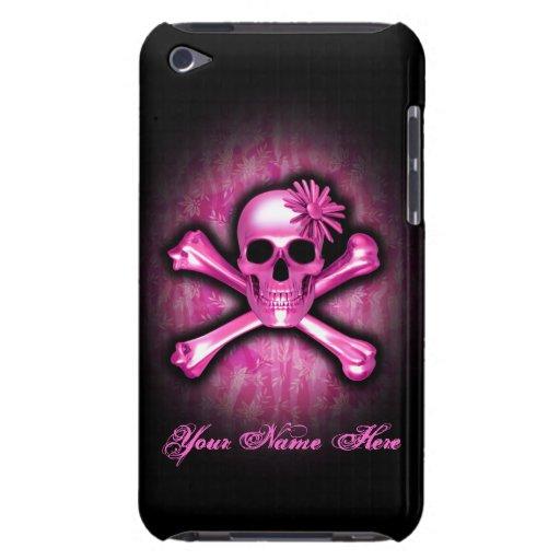 Caso del tacto del cromo de iPod rosado del cráneo iPod Touch Case-Mate Protectores