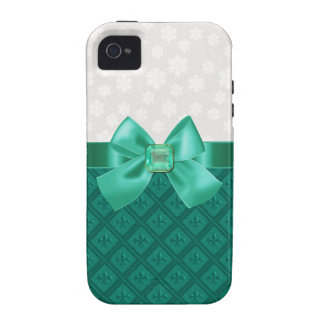 Caso elegante del iPhone de Emerald Fleur Di Lys Case-Mate iPhone 4 Funda