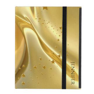 Caso en folio del iPad 2/3/4 líquido del oro iPad Funda