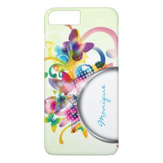 caso floral abstracto de la primavera con el marco funda iPhone 7 plus