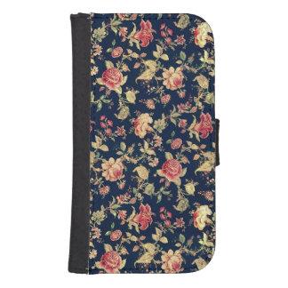 Caso floral del rosa del vintage elegante funda tipo cartera para galaxy s4