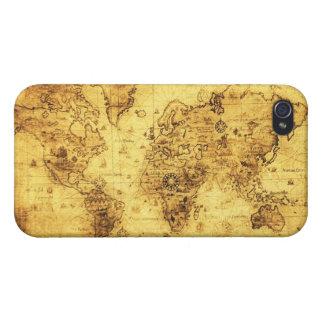 Caso listo del iPhone 4 del mapa de Viejo Mundo de iPhone 4 Protectores