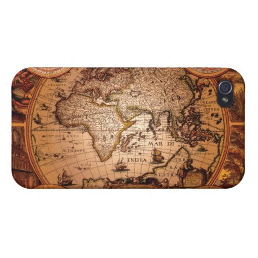 Caso listo del iPhone 4 del mapa de Viejo Mundo de iPhone 4/4S Funda