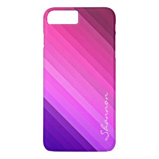 Caso más del iPhone 7 rayados púrpuras y rosados Funda iPhone 7 Plus