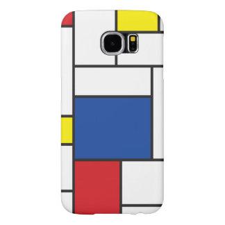Caso minimalista del arte moderno de Mondrian de Fundas Samsung Galaxy S6