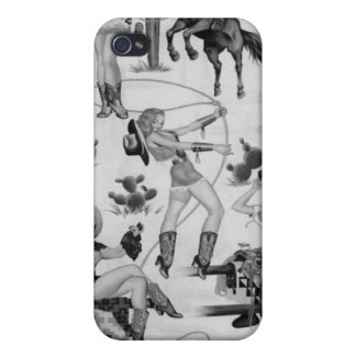 Caso retro del iPhone 4 de las vaqueras del rodeo  iPhone 4 Cárcasas