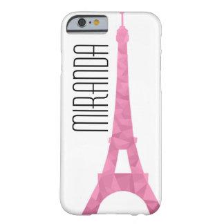 Caso rosado de Eiffel de la faceta Funda Barely There iPhone 6