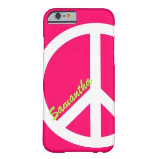 Caso rosado del iPhone 6 del signo de la paz Funda Barely There iPhone 6