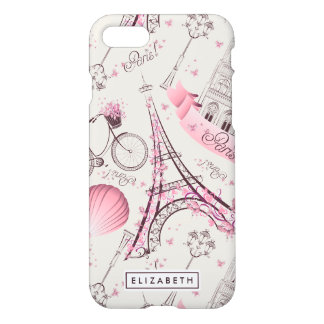 Caso rosado del iPhone 7 de París Zazzle de la Funda Para iPhone 8/7
