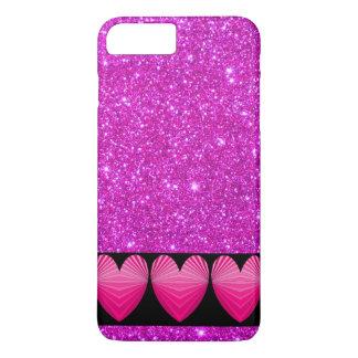 Caso rosado del iPhone del brillo del corazón de Funda iPhone 7 Plus